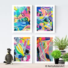 "Inspirational Art by Kertu Kelem. Colourful Abstract Art. ""HAPPY MOMENTS"" – Set of 4 Fine Art Print Bundle. Let this collection make your room happy!"