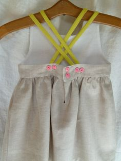 Natural Linen Dress with Pink Bone Buttons by HarrietsHaberdashery