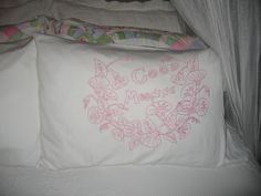 pink embroidery pillowcases