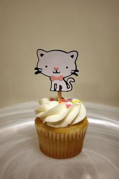 Items similar to Kitty Cat Cupcake Toppers / Cake Toppers / Mini Cupcake Toppers / Centerpiece on Etsy Cat Cupcakes, Pretty Cupcakes, Gourmet Cupcakes, Cupcake Cookies, Cupcake Toppers, Cupcake Recipes, Cat Birthday, Birthday Party Themes, Birthday Ideas