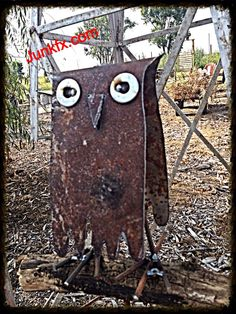 Recycled metal OWL 36 inch stake By Junkfx by Junkfx on Etsy, $60.00