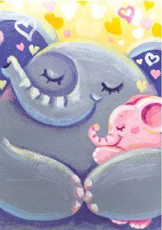 Hug - archival tiny cute print - Rondy the Elphant and his Mom hugging - Oksancia