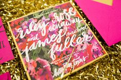 obsessing over these gold and hot pink floral wedding announcements by #papellerie #stationery
