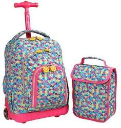 J World Lollipop Rolling Backpack with Lunch Kit - Pink/Purple, Kids Unisex , Sac Lunch, Kids Lunch Bags, Kids Bags, Lunch Boxes, United Airlines, Kids Rolling Backpack, Diaper Bag, Backpack With Wheels, Boys Backpacks