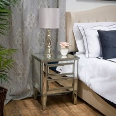 $170 Crawford Vintage Mirror Two-Drawer End Table by Christopher Knight Home | Overstock.com Shopping - The Best Deals on Coffee, Sofa & End Tables