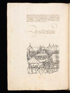 """Aarau, Aargauer Kantonsbibliothek, ZF 18, f. 226v – Werner Schodoler, Eidgenössische Chronik, Vol. 3 The Eidgenössischen Chronik/Luzerner Chronik. A manuscript by Wernher Schodoler. Made in 1513. About the Swiss wars with """"Habsburg, die Burgunderkriege, dem Schwabenkrieg und zuletzt den italienischen Feldzügen"""" http://de.wikipedia.org/wiki/Eidgen%C3%B6ssische_Chronik_%28Schodoler%29"""