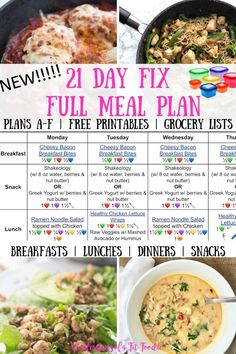 Meal planning 442478732141478775 - Looking for a 21 Day Fix Full Meal Plan to help you eat healthier? This complete meal plan has breakfast, lunch, dinner, & snacks, for ALL 21 Day Fix Plans. 21 Day Meal Plan, 21 Day Fix Meal Plan, Keto Meal Plan, Meal Prep, Food Prep, 21 Day Clean Eating Challenge, Healthy Weekly Meal Plan, Weekly Menu, 21 Day Fix Snacks