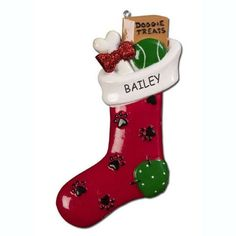 Personalized Treats Stocking Dog Christmas Ornament ^^ New offers awaiting you  : Christmas Trees
