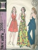 An original ca. 1972 McCall's Pattern 3206.  Misses' Dress or Tunic and Pants. Dress or tunic has back hooked halter neckline, self fabric tie belt included in center front seam. Pants have elastic in casing.