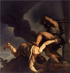 """Cain and Abel""  --  1542-44 --  Titian  --  Oil on canvas  --  Santa Maria della Salute, Venice,"