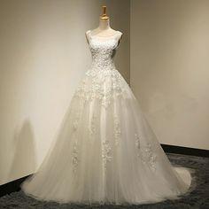 newest bridal dress,long A-line wedding dress ,scoop wedding dress ,lace up…