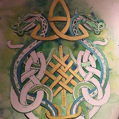 Still a work in progress but happy to say I am using my own hand-crafted paints now. Vegan ethically made no animal tested paints in brilliant shimmering gorgeous gouache colors on watercolor paper. #art #artist #artisan #celtic #dragon #medieval #fantasy #folklore #handmade #painting #watercolor #watercolour #gouache