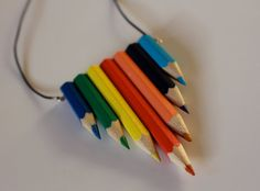 Pencil Necklace Upcycled colouring pencils pendant by lydswann, £15.00