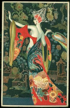 Montedoro Art Deco Postcard Fabulous Costume Woman   eBay
