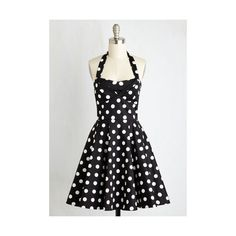 Pinup Sleeveless Fit & Flare Traveling Cake Pop Truck Dress ($70) ❤ liked on Polyvore featuring dresses, black, apparel, fashion dress, pinup dress, black polka dot dress, pin up dresses, black halter top and black dress