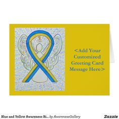 Down's Syndrome Blue and Yellow Awareness Ribbon Personalized Card