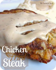 This is what is going down at our house tonight!!!  :) Chicken Fried Steak Recipe | Six Sisters' Stuff