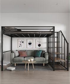 Room Design Bedroom, Home Room Design, Bedroom Decor, Bunk Bed With Desk, Loft Bunk Beds, Pallet Loft Bed, Loft Bed Plans, Bunk Bed Designs, Small Room Design