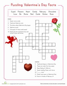 Family Fun Valentine Printables | Valentine's Day Second Grade Crossword Worksheets: Valentine Crossword