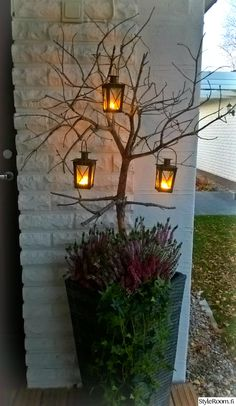 autumn, floral arrangements, patio flowers, lantern, k - Recycled Garden Ideas Christmas Planters, Outdoor Christmas, Christmas Decorations, Autumn Decorations, Garden Art, Garden Design, Fall Flower Arrangements, Deco Nature, Candle Lanterns