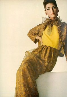 1966 Benedetta Barzini in beautiful chiffon over silk dinner suit by Leslie Morris, photo by Irving Penn