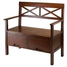 Madelyn Entryway Storage Bench Walnut - Winsome : Target
