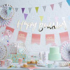 décoration anniversaire pastel et or - Pastel and gold party