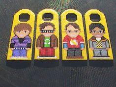 Big Bang Theory Characters Perler Bead Door Hangers by angelferret