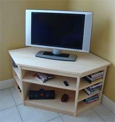 Corner entertainment center lightweight wood desk with base shelves for storing collections and audio system diy Corner Tv Stands, Corner Tv Unit, Corner Space, Corner Shelf, Tv Stand Luxury, Tv Stand Plans, Swivel Tv Stand, Diy Tv Stand, Bamboo Furniture