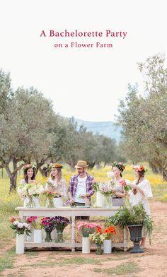 Flower Farm Bachelorette Party // fun and fresh bachelorette party ideas - build your own flower crowns