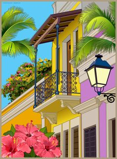 An illustration of Old San Juan, Puerto Rico.