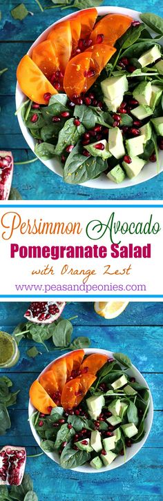 Persimmon Avocado Pomegranate Salad - Vegan, Gluten Free - A seasonal Persimmon Avocado Pomegranate Salad with orange zest and a savory garlicky, loaded with basil and parsley green dressing. Peas and Peonies