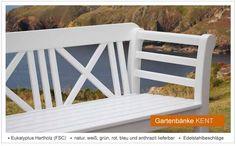 Weiße Holzbank Gartenbank KENT Aus FSC Holz   Lieferbar In 2 Breiten Und 6  Ausführungen