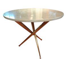 Italian Mid Century Modern Gio Pointi Inspired Brass And Marble Table