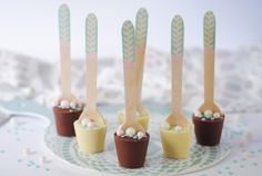 Make these pretty delicious bespoke hot chocolate spoons, ready to stir through hot milk. Chocolate Spoons, Chocolate Dipped, Hot Chocolate, Candy Making, Candles, Hampers, Pretty, Christmas, Holidays