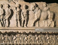 Frieze of the Temple of Apollo Sosianus. Detail of the triumphal cortege for the victory upon Judaeans in 34 BC. The dec of the surviving phase includes unusual motifs (the grooves of the columns are not all equal, but alt wider and narrower). This shows a moment when a new dec. style is being intro, between the Italic arch. of the Rep (Temple of Portunus) with Hell. influences, emphasising the old values of A's new status quo whilst showing the regime's innovative cultural credentials.