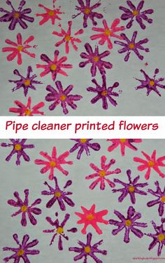 Pipe cleaner stamped flowers! Simple painting activity to make with kids!