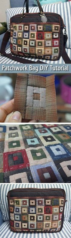 Patchwork style briefcase with shoulder strap and clasp closure detail. DIY step-by-step tutorial. Сумка-портфель в технике печворк ~~ www.handmadiya.co...