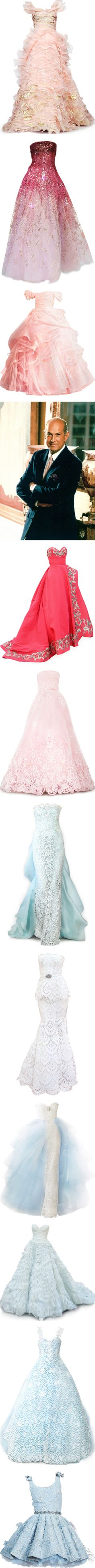 Tribute To Oscar de la Renta by satinee on Polyvore featuring dresses, gowns, long dresses, vestidos, satin gown, satin evening dresses, pink satin dress, pink gown, oscar de la renta ball gown and oscar de la renta dresses