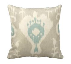 One 20x20 Pillow Cover Decorative Pillow Beige Pillow Throw Pillow Taupe Pillow Ikat Pillow Beige Ikat Pillow Beige Home Decor