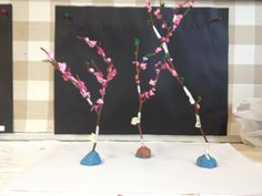 Blossom Trees made with wire and tissue. Blossom Trees, Grade 3, Wire, Flowering Trees, Cherry Blossom Tree, Flower Tree, Cord