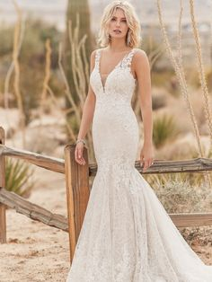 Unique lace motifs and embroidery over sequin textured tulle create this chic fit-and-flare wedding dress. Complete with illusion straps, illusion plunging V-neckline, and illusion scoop back. Finished with covered buttons over zipper closure. Wedding Dress Boutiques, Designer Wedding Gowns, Wedding Dress Shopping, Wedding Designers, Sottero And Midgley Wedding Dresses, Bridal Wedding Dresses, Bridesmaid Dresses, Sottero Midgley, Blush Bridal