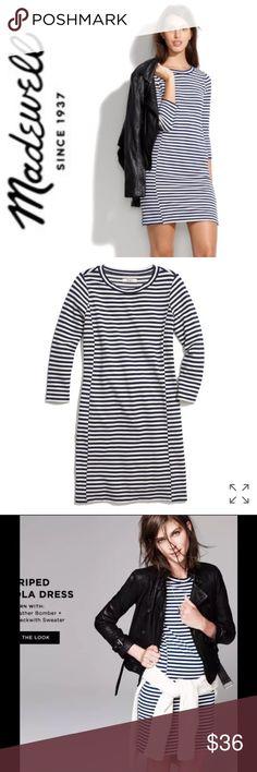 Madewell Striped Gondola Dress ✔️Stretch Ponte Fabric  ✔️Nautical Navy & White Stripes ✔️3/4 Sleeve ✔️Viscose•Nylon•Spandex ✔️No Holes, Stains or Damages Madewell Dresses