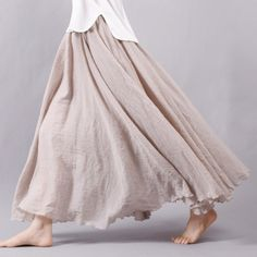 Women Linen Cotton Long Skirts Elastic Waist Pleated Maxi Skirts Beach Boho Vintage Summer Skirts