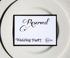 10  Black and White Reserved Table Markers by yourheartstrings, $20.00