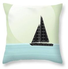 Sailboat Beach Days (throw pillows many sizes available) by Cecely Bloom