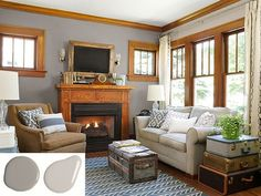 A 1930 Craftsman House Transformed is part of Living Room Colors With Wood Trim - How a novice homeowner mastered a DIY renovation of a small bungalow Room Paint Colors, Paint Colors For Living Room, Living Room Grey, Home Living Room, Living Room Designs, Living Room Decor, 1930s Living Room, Kitchen Living, Dining Room