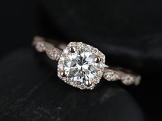 Rosados Box Christie Rose Gold Diamond Cushion Halo With Milgrain Engagement Ring