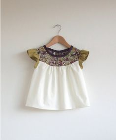cotton blouse with Liberty print detail by swallowsreturn on Etsy, $29.00