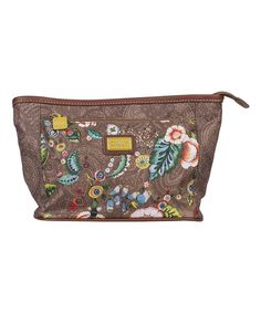 Loving this Tobacco French Flowers Medium Cosmetic Bag & Pocket Mirror on #zulily! #zulilyfinds